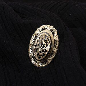 Jayet Stone Silver Handmade Vintage Brooch